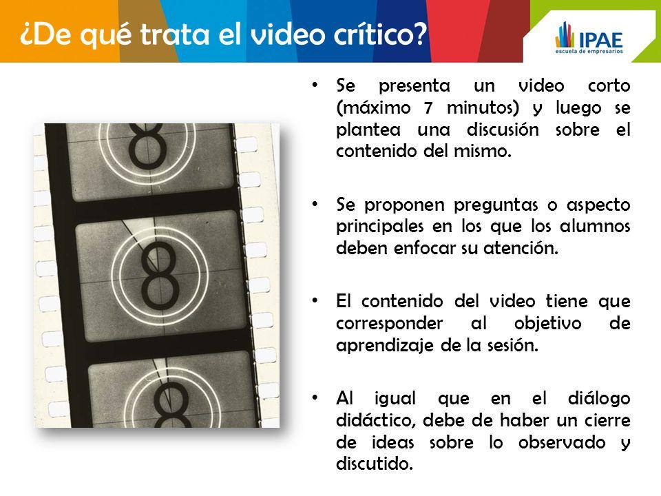 Se presenta un video corto (máximo 7 minutos) y luego se plantea una discusión sobre el contenido del mismo.