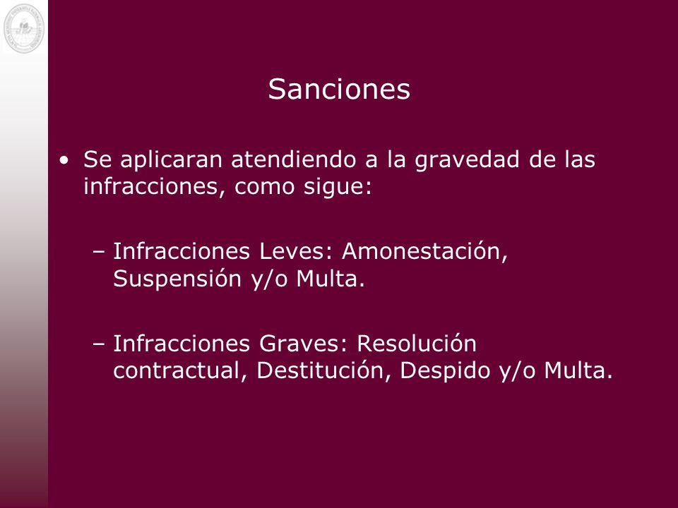 Sanciones Se aplicaran atendiendo a la gravedad de las infracciones, como sigue: –Infracciones Leves: Amonestación, Suspensión y/o Multa. –Infraccione