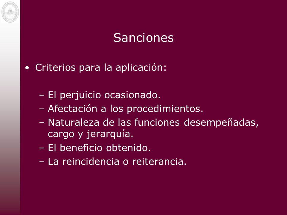 Sanciones Criterios para la aplicación: –El perjuicio ocasionado. –Afectación a los procedimientos. –Naturaleza de las funciones desempeñadas, cargo y