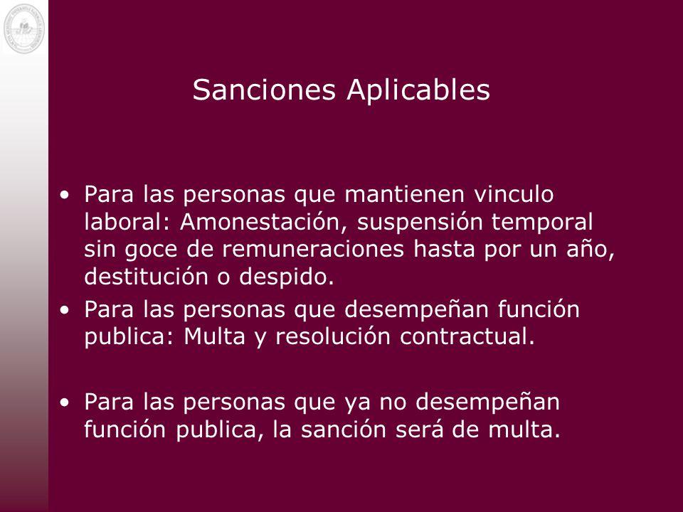 Sanciones Aplicables Para las personas que mantienen vinculo laboral: Amonestación, suspensión temporal sin goce de remuneraciones hasta por un año, d