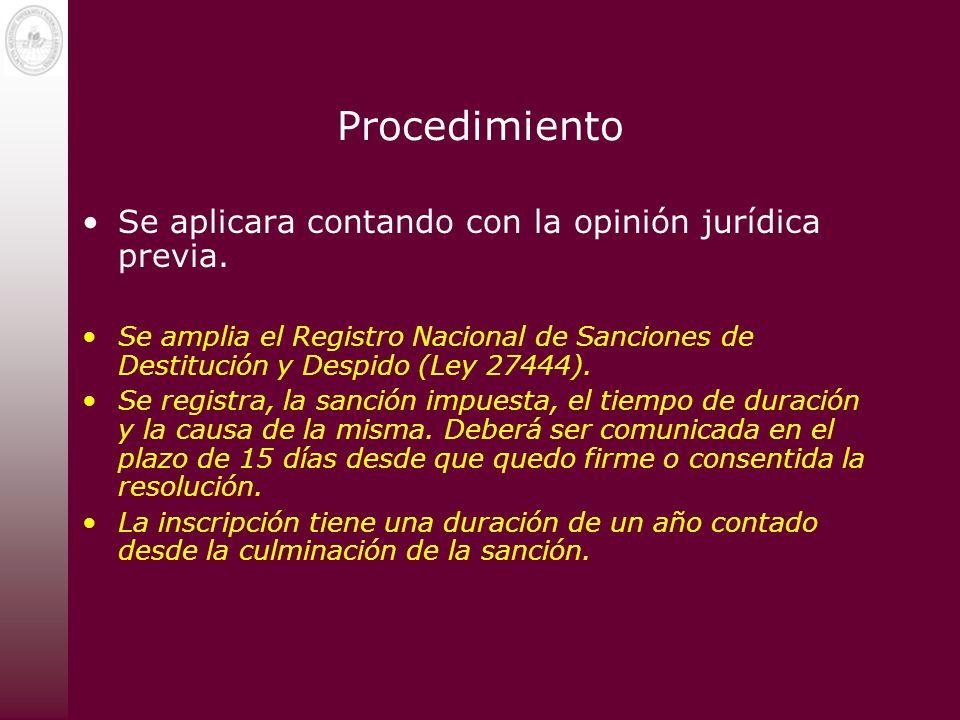 Procedimiento Se aplicara contando con la opinión jurídica previa. Se amplia el Registro Nacional de Sanciones de Destitución y Despido (Ley 27444). S