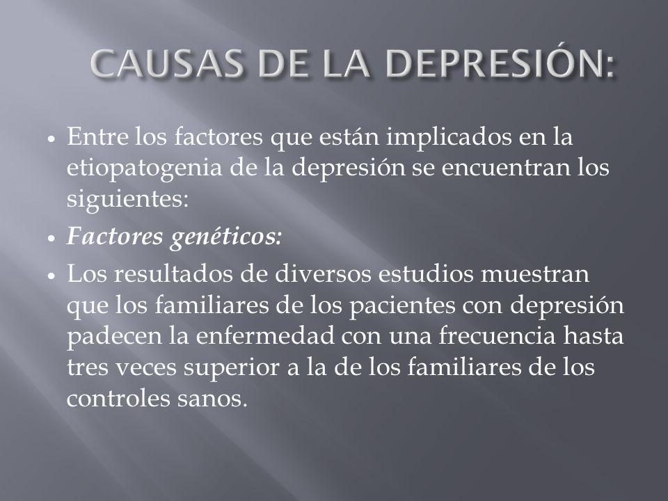 Entre los factores que están implicados en la etiopatogenia de la depresión se encuentran los siguientes: Factores genéticos: Los resultados de divers