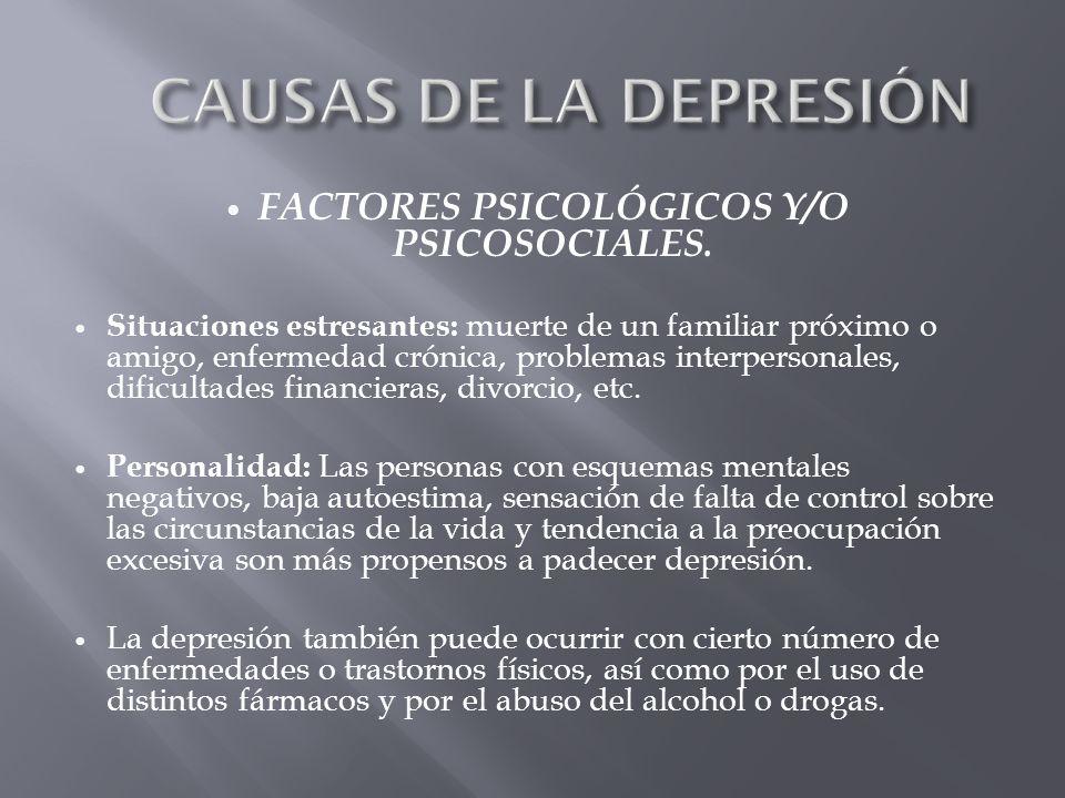 FACTORES PSICOLÓGICOS Y/O PSICOSOCIALES. Situaciones estresantes: muerte de un familiar próximo o amigo, enfermedad crónica, problemas interpersonales