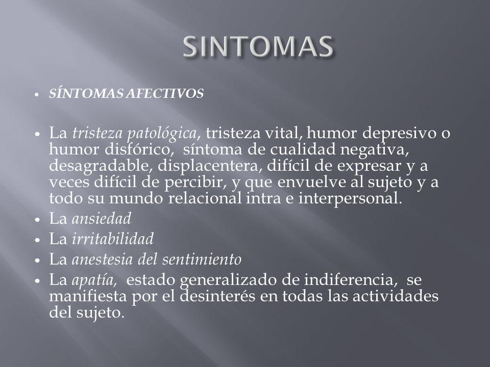 SÍNTOMAS AFECTIVOS La tristeza patológica, tristeza vital, humor depresivo o humor disfórico, síntoma de cualidad negativa, desagradable, displacenter