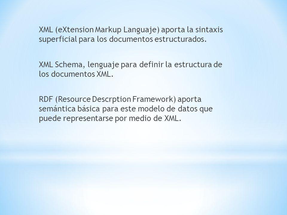 XML (eXtension Markup Languaje) aporta la sintaxis superficial para los documentos estructurados.