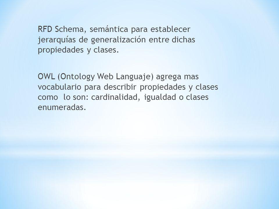 RFD Schema, semántica para establecer jerarquías de generalización entre dichas propiedades y clases.