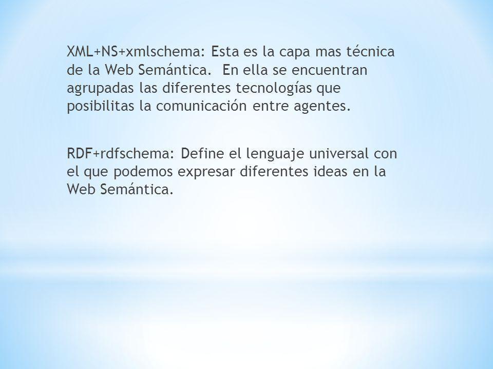 XML+NS+xmlschema: Esta es la capa mas técnica de la Web Semántica.