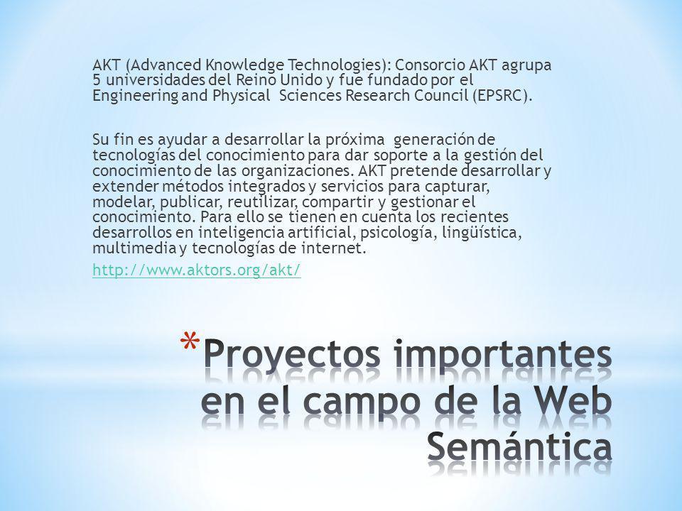 AKT (Advanced Knowledge Technologies): Consorcio AKT agrupa 5 universidades del Reino Unido y fue fundado por el Engineering and Physical Sciences Research Council (EPSRC).