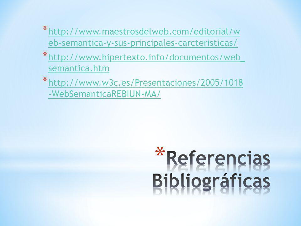 * http://www.maestrosdelweb.com/editorial/w eb-semantica-y-sus-principales-carcteristicas/ http://www.maestrosdelweb.com/editorial/w eb-semantica-y-sus-principales-carcteristicas/ * http://www.hipertexto.info/documentos/web_ semantica.htm http://www.hipertexto.info/documentos/web_ semantica.htm * http://www.w3c.es/Presentaciones/2005/1018 -WebSemanticaREBIUN-MA/ http://www.w3c.es/Presentaciones/2005/1018 -WebSemanticaREBIUN-MA/