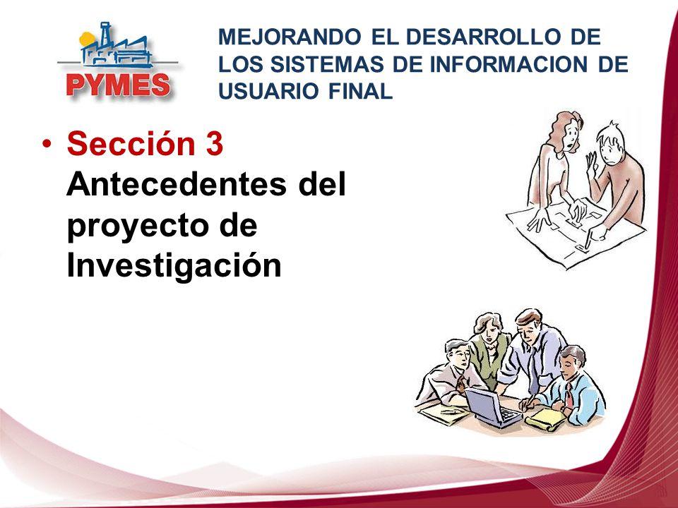 Sección 3 Antecedentes del proyecto de Investigación MEJORANDO EL DESARROLLO DE LOS SISTEMAS DE INFORMACION DE USUARIO FINAL