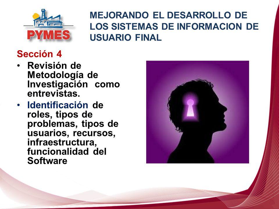 Sección 5: Resultado del Estudio Se identificaron tipos de problemas y algunas estrategias de resolución de problemas determinando los usuarios involucrados.