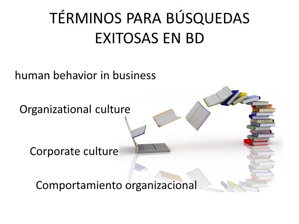 TÉRMINOS PARA BÚSQUEDAS EXITOSAS EN BD Organizational culture Comportamiento organizacional human behavior in business Corporate culture