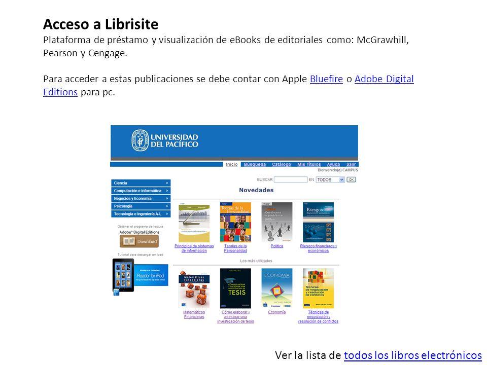 Acceso a Librisite Plataforma de préstamo y visualización de eBooks de editoriales como: McGrawhill, Pearson y Cengage. Para acceder a estas publicaci