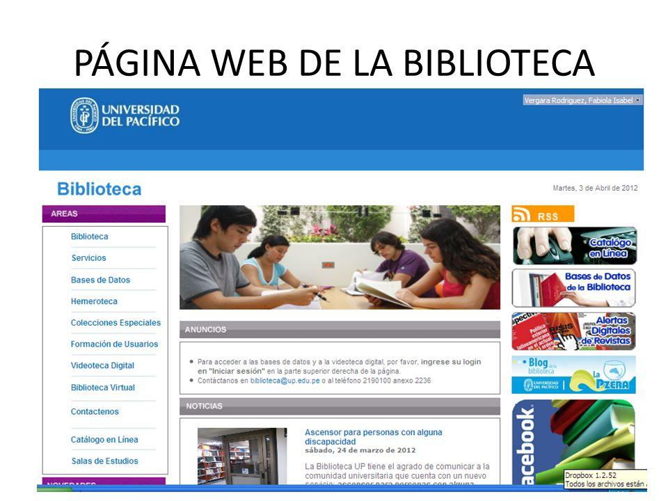 PÁGINA WEB DE LA BIBLIOTECA