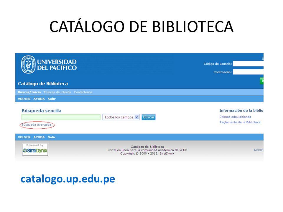 CATÁLOGO DE BIBLIOTECA catalogo.up.edu.pe