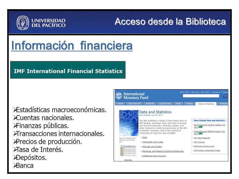 Información financiera Estadísticas macroeconómicas. Cuentas nacionales. Finanzas públicas. Transacciones internacionales. Precios de producción. Tasa