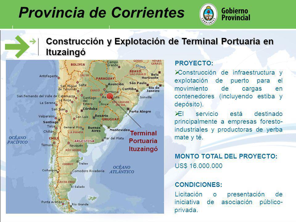 Construcción y Explotación de Terminal Portuaria en Ituzaingó Terminal Portuaria Ituzaingó PROYECTO: Construcción de infraestructura y explotación de puerto para el movimiento de cargas en contenedores (incluyendo estiba y depósito).