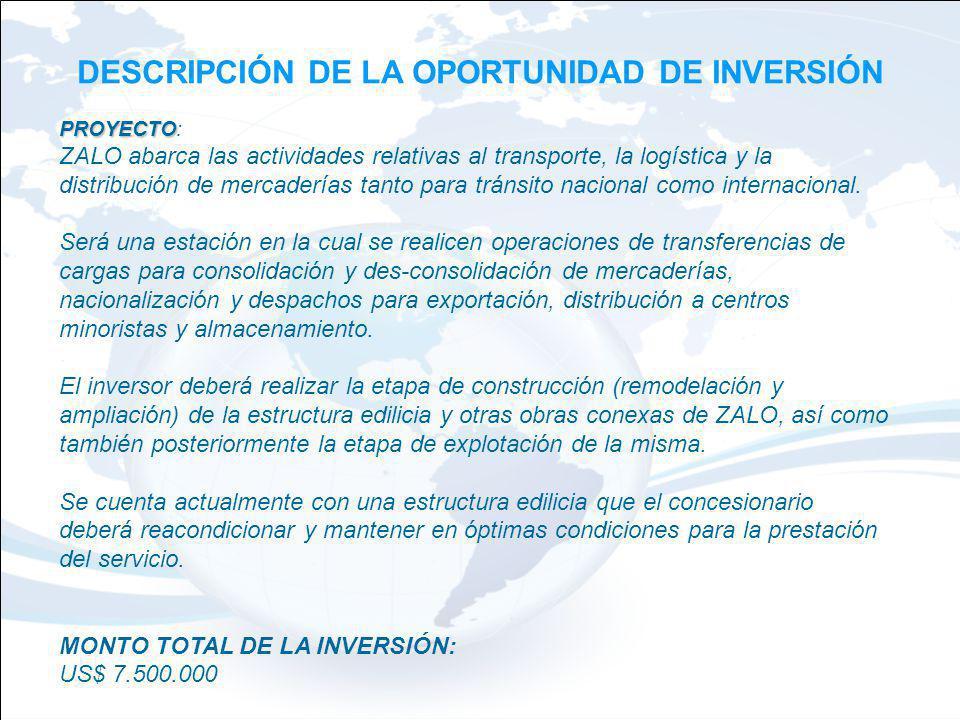 DESCRIPCIÓN DE LA OPORTUNIDAD DE INVERSIÓN PROYECTO PROYECTO: ZALO abarca las actividades relativas al transporte, la logística y la distribución de m
