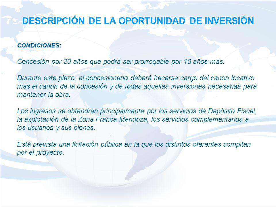 DESCRIPCIÓN DE LA OPORTUNIDAD DE INVERSIÓN CONDICIONES: Concesión por 20 años que podrá ser prorrogable por 10 años más.
