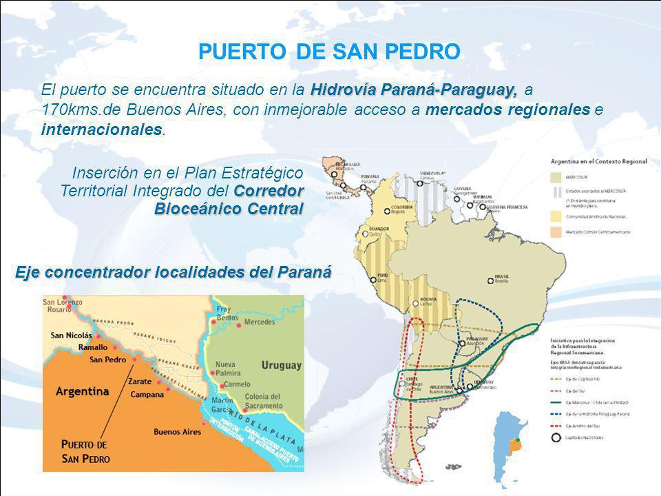 PUERTO DE SAN PEDRO Hidrovía Paraná-Paraguay, El puerto se encuentra situado en la Hidrovía Paraná-Paraguay, a 170kms.de Buenos Aires, con inmejorable