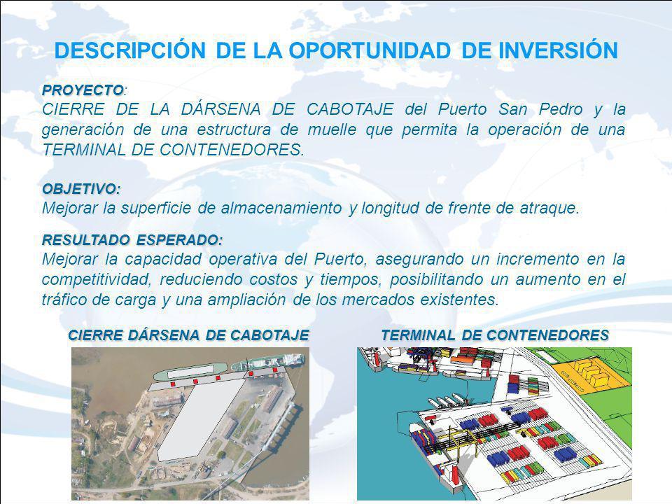 DESCRIPCIÓN DE LA OPORTUNIDAD DE INVERSIÓN PROYECTO PROYECTO: CIERRE DE LA DÁRSENA DE CABOTAJE del Puerto San Pedro y la generación de una estructura