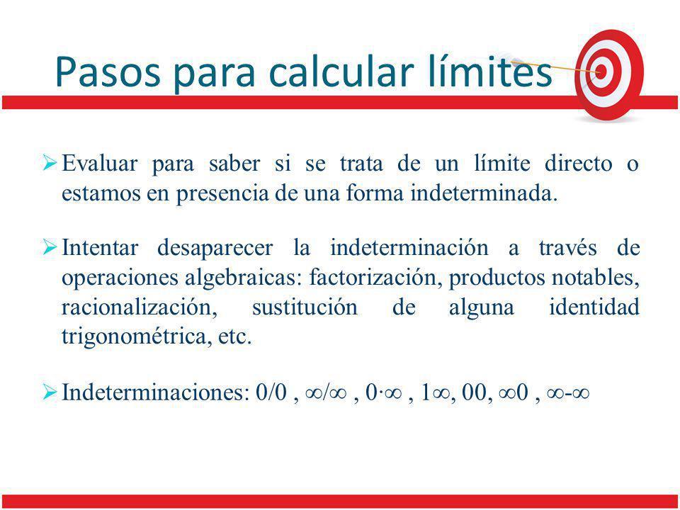 Pasos para calcular límites Evaluar para saber si se trata de un límite directo o estamos en presencia de una forma indeterminada.