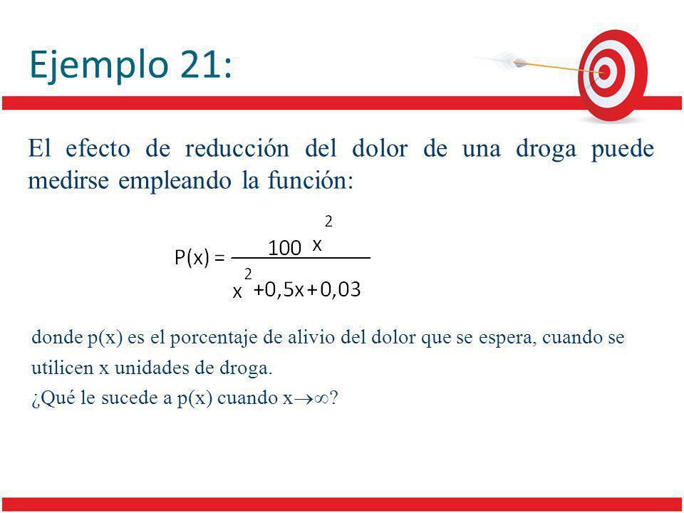 El efecto de reducción del dolor de una droga puede medirse empleando la función: donde p(x) es el porcentaje de alivio del dolor que se espera, cuando se utilicen x unidades de droga.