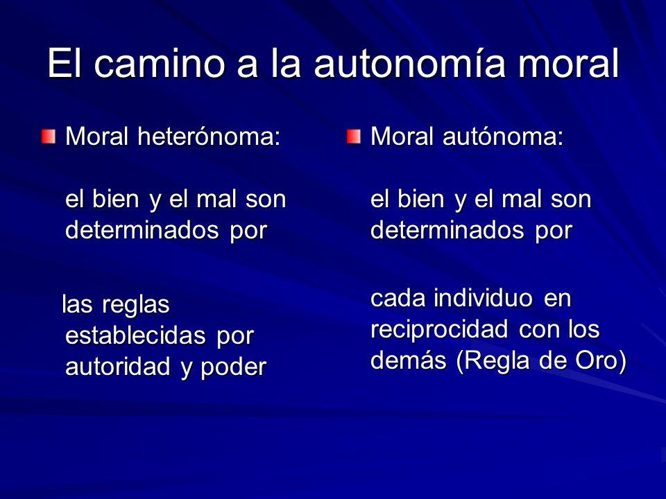 El camino a la autonomía moral Moral heterónoma: el bien y el mal son determinados por las reglas establecidas por autoridad y poder las reglas establ