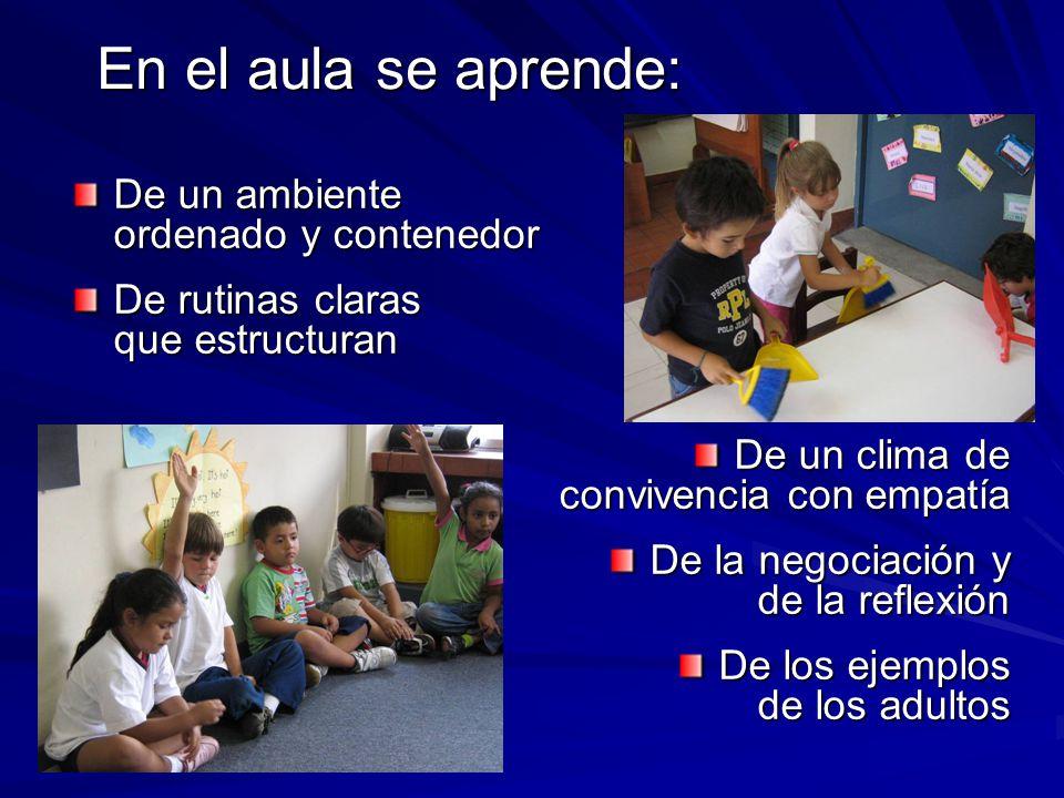 En el aula se aprende: De un ambiente ordenado y contenedor De rutinas claras que estructuran De un clima de convivencia con empatía De la negociación