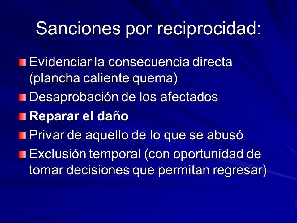 Sanciones por reciprocidad: Evidenciar la consecuencia directa (plancha caliente quema) Desaprobación de los afectados Reparar el daño Privar de aquel