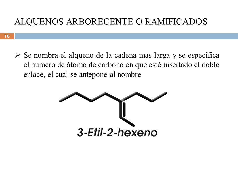ALQUENOS ARBORECENTE O RAMIFICADOS Se nombra el alqueno de la cadena mas larga y se especifica el número de átomo de carbono en que esté insertado el doble enlace, el cual se antepone al nombre 16