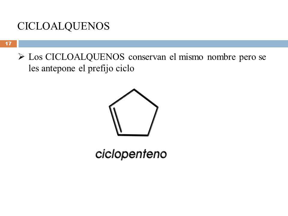 CICLOALQUENOS Los CICLOALQUENOS conservan el mismo nombre pero se les antepone el prefijo ciclo 17
