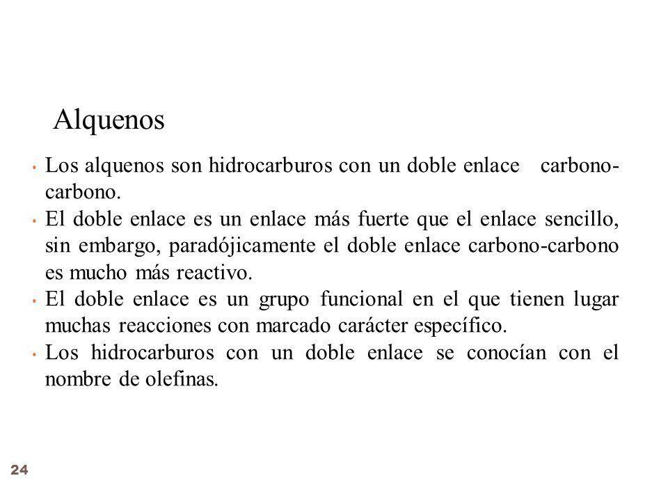 Alquenos Los alquenos son hidrocarburos con un doble enlace carbono- carbono.