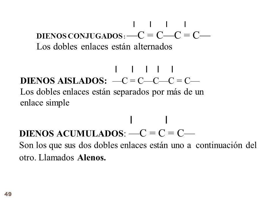 Ι Ι Ι Ι DIENOS CONJUGADOS : C = CC = C Los dobles enlaces están alternados Ι Ι Ι Ι Ι DIENOS AISLADOS: C = CCC = C Los dobles enlaces están separados por más de un enlace simple Ι DIENOS ACUMULADOS: C = C = C Son los que sus dos dobles enlaces están uno a continuación del otro.
