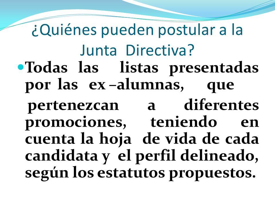 ¿Quiénes pueden postular a la Junta Directiva.
