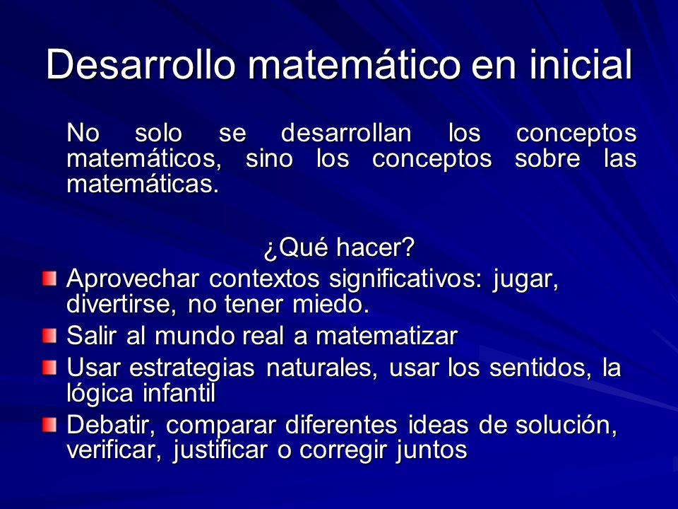 Desarrollo matemático en inicial No solo se desarrollan los conceptos matemáticos, sino los conceptos sobre las matemáticas. ¿Qué hacer? Aprovechar co