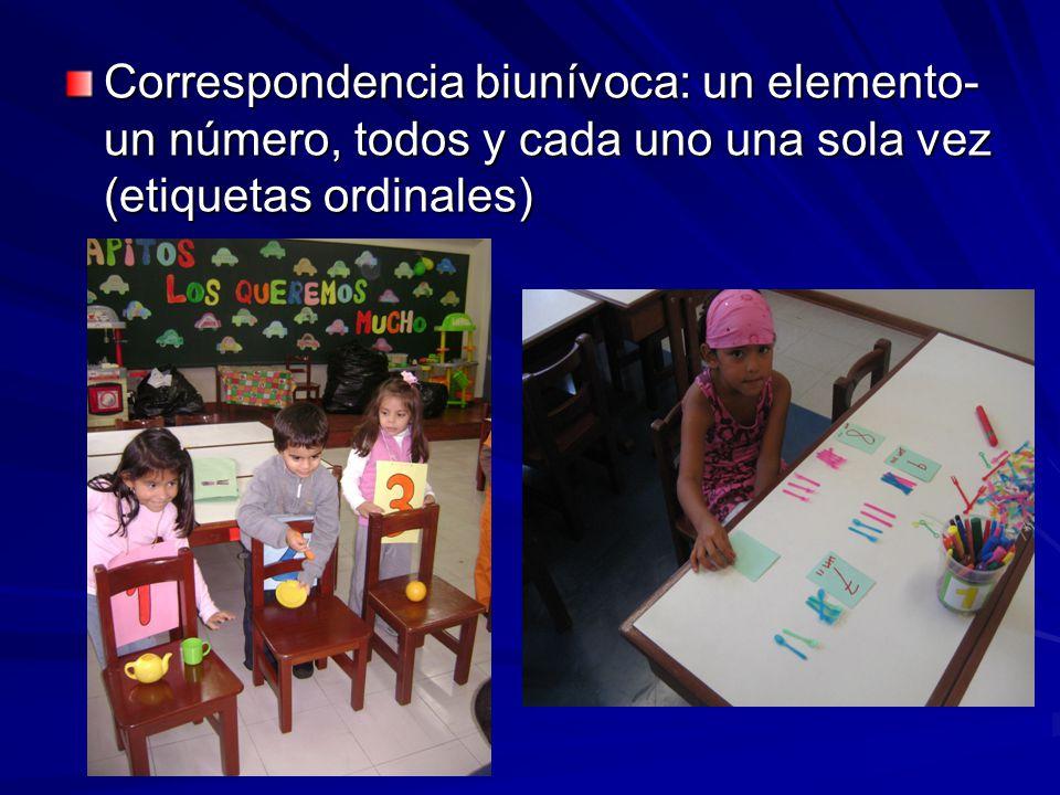 Correspondencia biunívoca: un elemento- un número, todos y cada uno una sola vez (etiquetas ordinales)