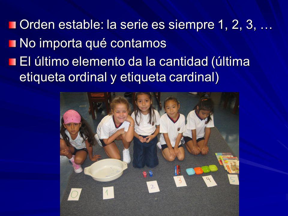 Orden estable: la serie es siempre 1, 2, 3, … No importa qué contamos El último elemento da la cantidad (última etiqueta ordinal y etiqueta cardinal)