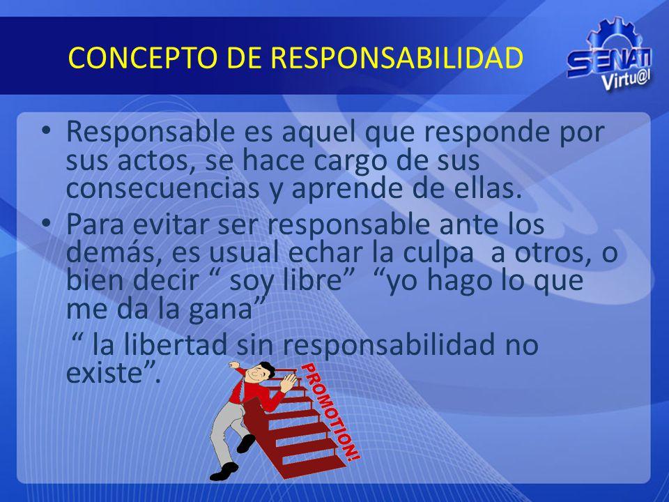 CONCEPTO DE RESPONSABILIDAD Responsable es aquel que responde por sus actos, se hace cargo de sus consecuencias y aprende de ellas. Para evitar ser re