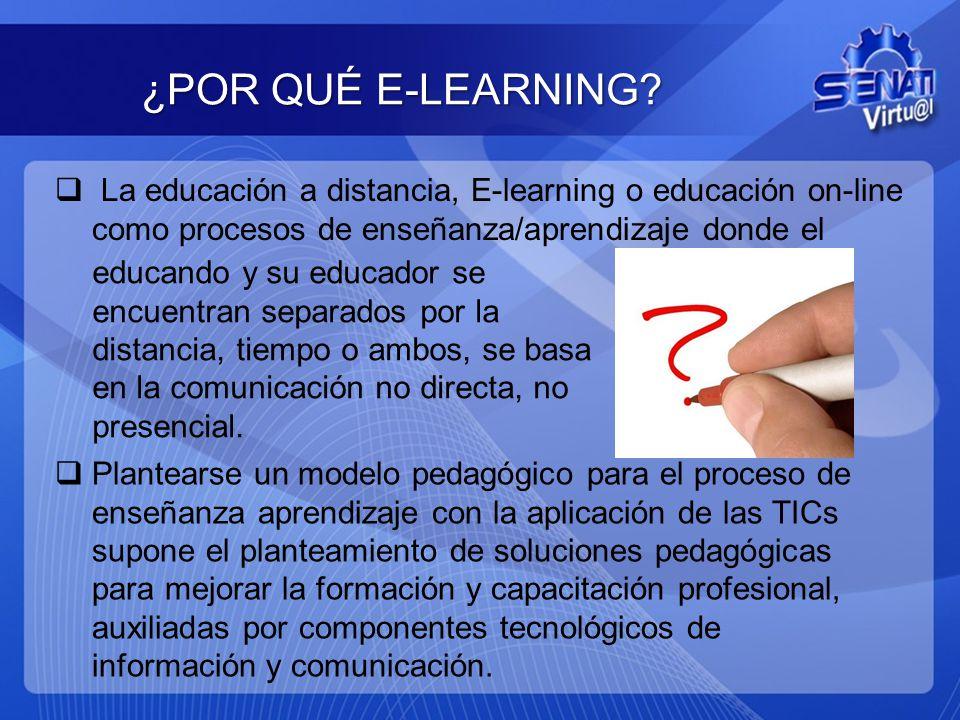 ¿POR QUÉ E-LEARNING? La educación a distancia, E-learning o educación on-line como procesos de enseñanza/aprendizaje donde el Plantearse un modelo ped