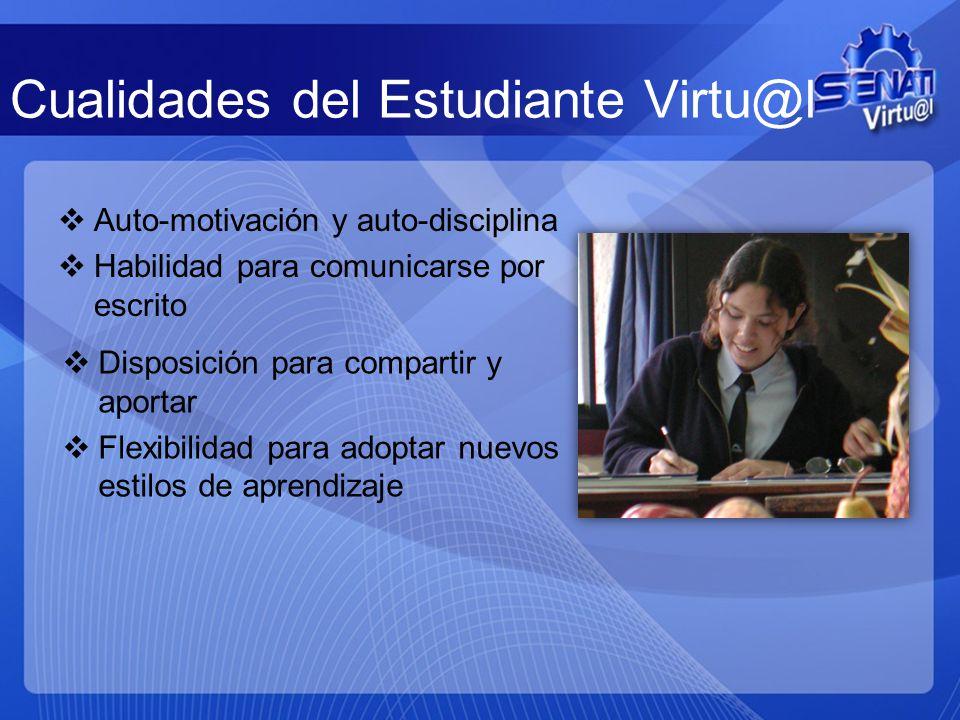 Cualidades del Estudiante Virtu@l Auto-motivación y auto-disciplina Habilidad para comunicarse por escrito Disposición para compartir y aportar Flexib