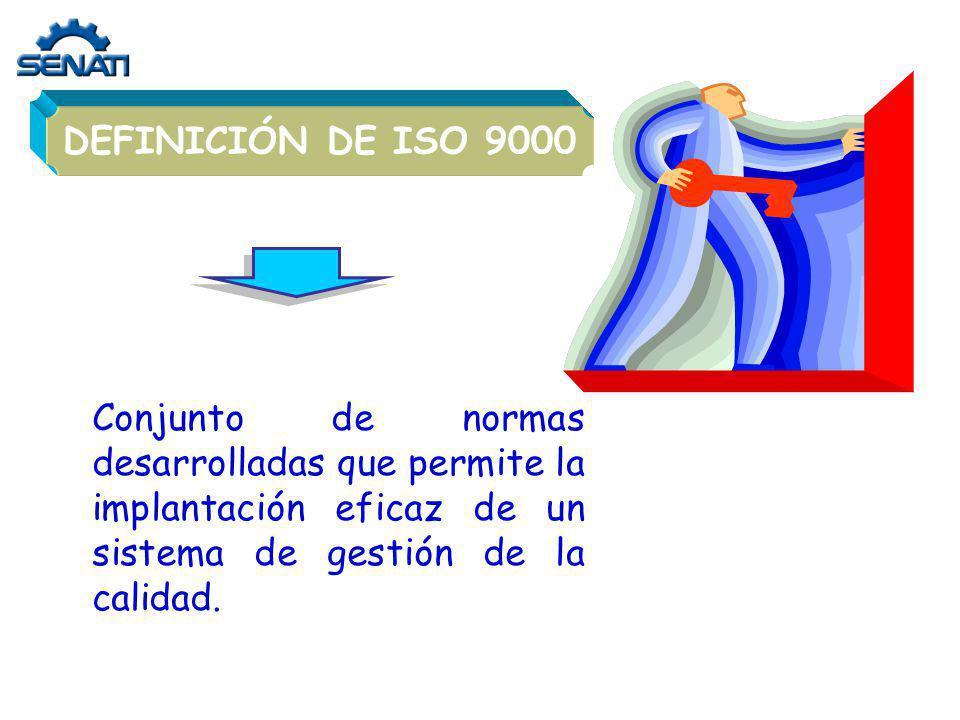 Conjunto de normas desarrolladas que permite la implantación eficaz de un sistema de gestión de la calidad. DEFINICIÓN DE ISO 9000