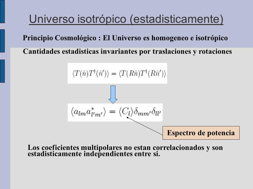 Universo isotrópico (estadisticamente) Principio Cosmológico : El Universo es homogeneo e isotrópico Cantidades estadisticas invariantes por traslaciones y rotaciones Los coeficientes multipolares no estan correlacionados y son estadisticamente independientes entre si.
