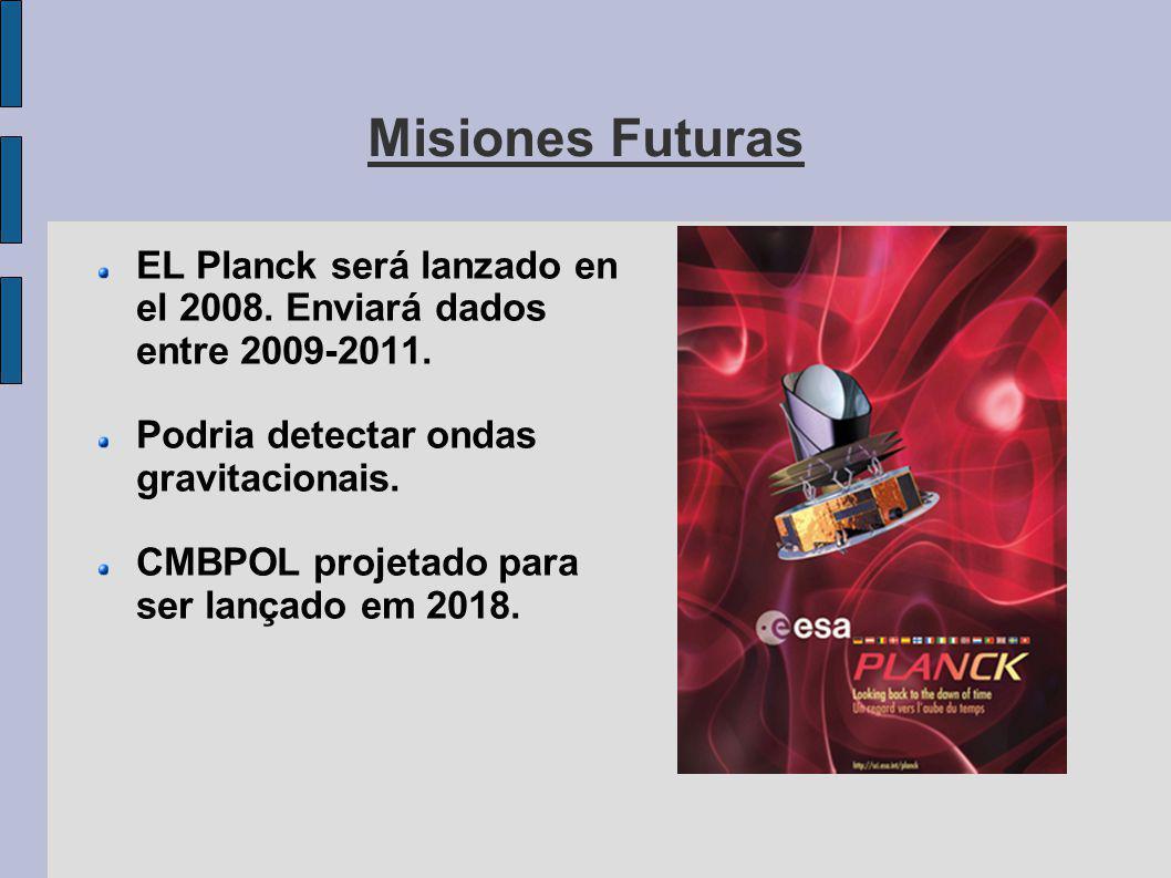 Misiones Futuras EL Planck será lanzado en el 2008.