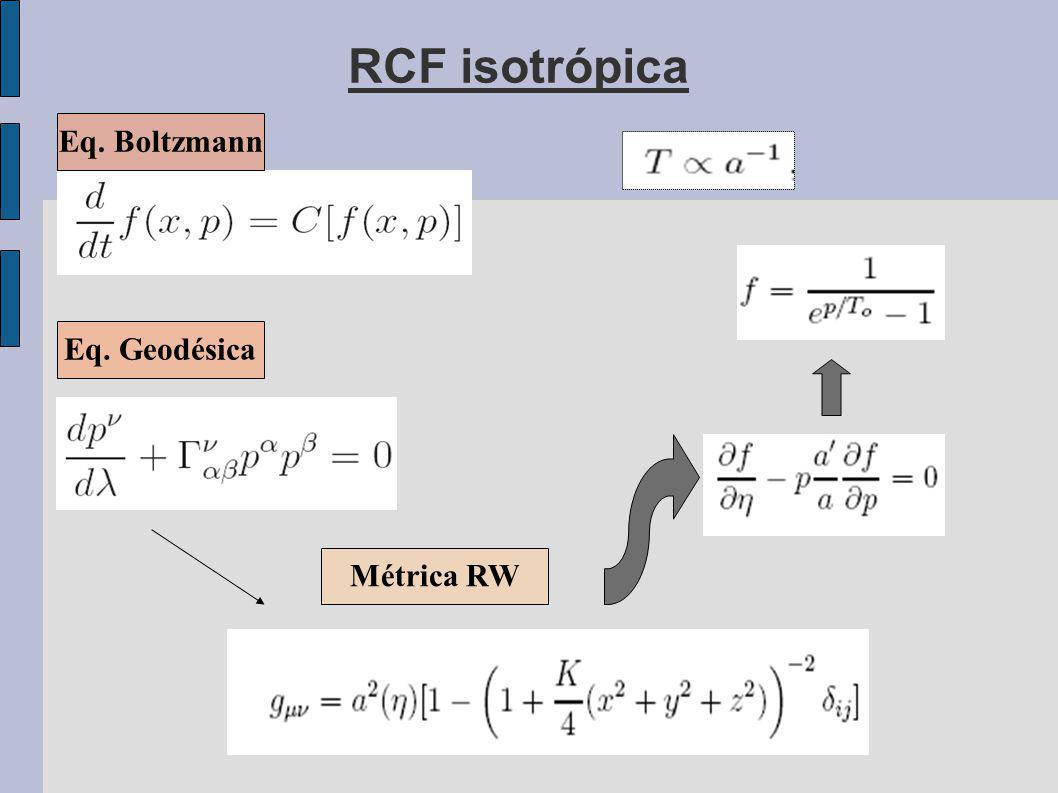 RCF isotrópica Eq. Boltzmann Eq. Geodésica Métrica RW