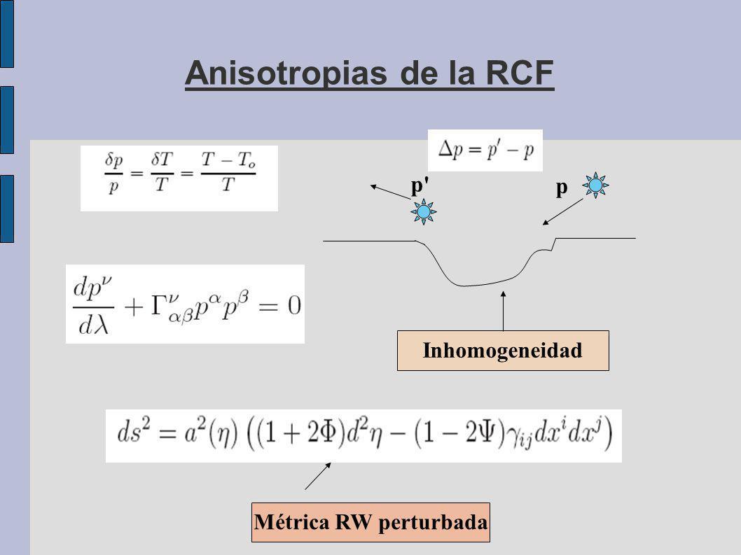 Anisotropias de la RCF Inhomogeneidad p p Métrica RW perturbada