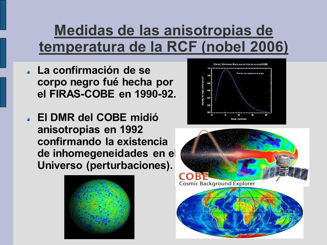 Medidas de las anisotropias de temperatura de la RCF (nobel 2006) La confirmación de se corpo negro fué hecha por el FIRAS-COBE en 1990-92.