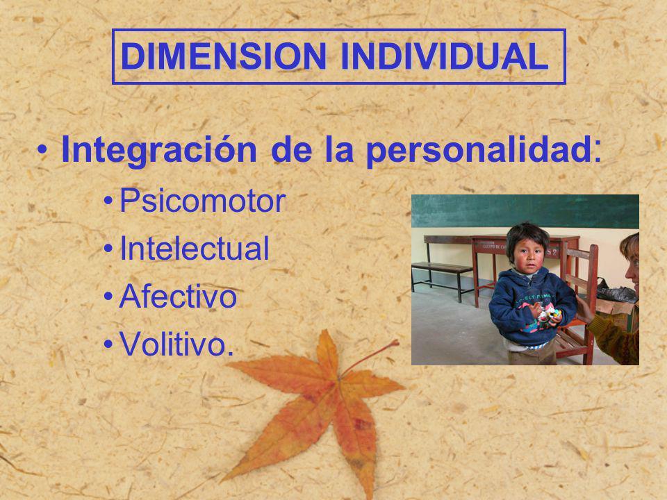 Integración de la personalidad : Psicomotor Intelectual Afectivo Volitivo. DIMENSION INDIVIDUAL