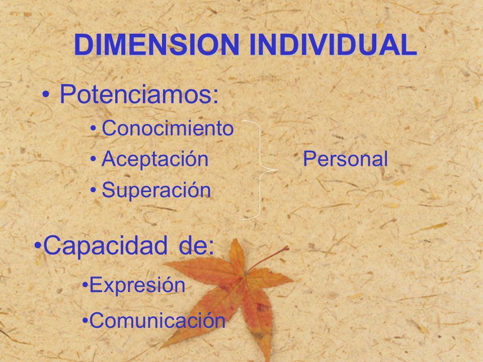 Potenciamos: Conocimiento Aceptación Personal Superación Capacidad de: Expresión Comunicación