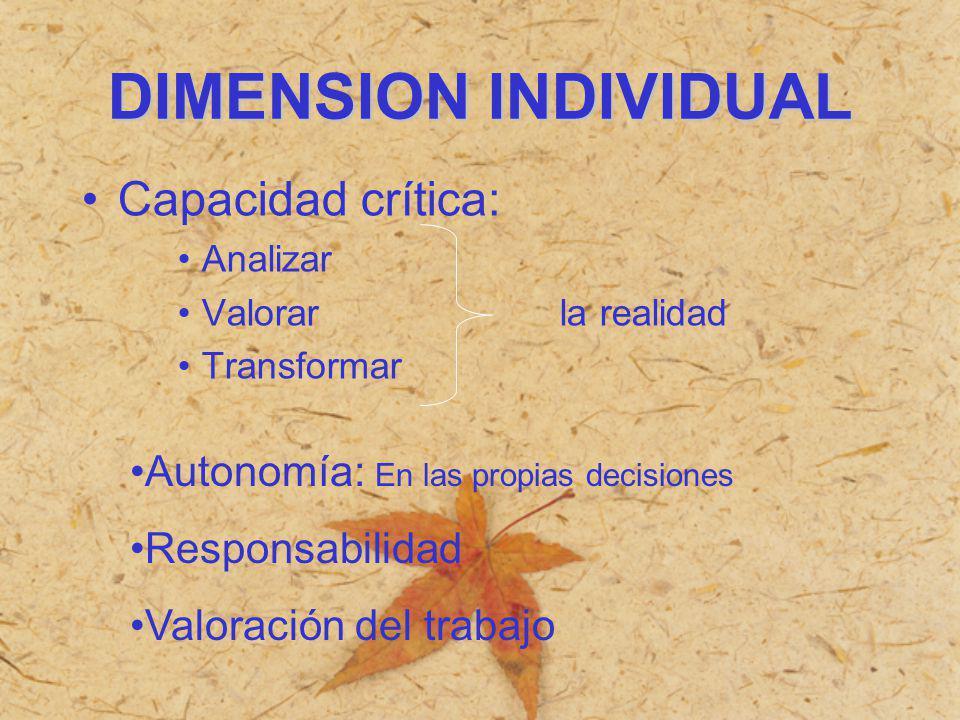 DIMENSION INDIVIDUAL Capacidad crítica: Analizar Valorar la realidad Transformar Autonomía: En las propias decisiones Responsabilidad Valoración del t